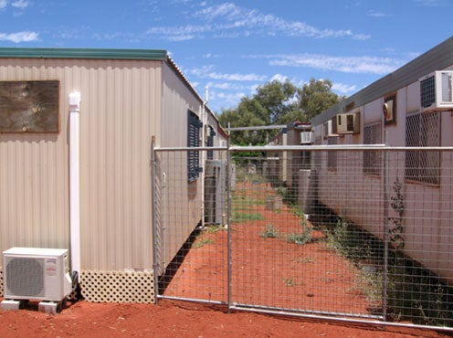 Rear of accommodation blocks, Leonora immigration detention facility