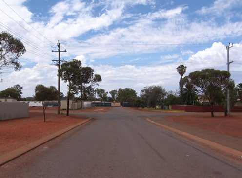 Street leading up to Leonora immigration detention facility