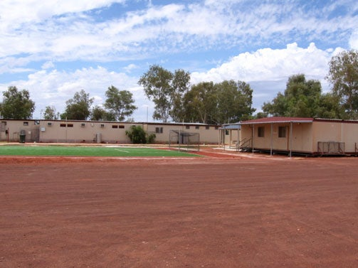 Photo: Soccer pitch, outside fence line of Leonora immigration detention facility