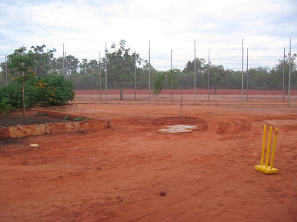 Dirt area used as cricket pitch, Curtin IDC