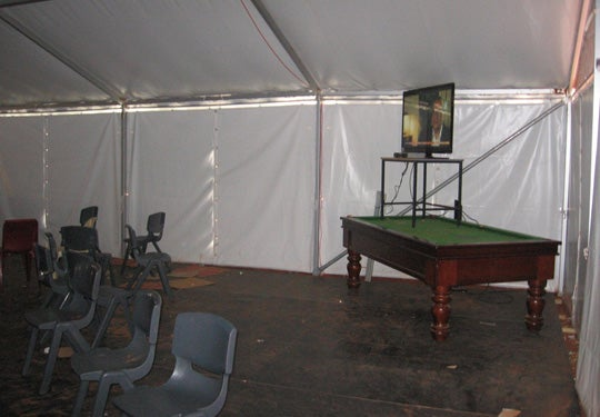 Description: Marquee used as recreational space, Curtin IDC, May 2011