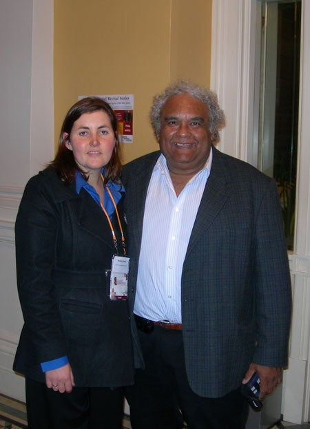 Tom Calma with photo of the LGNZ facilitator, Victoria Owen
