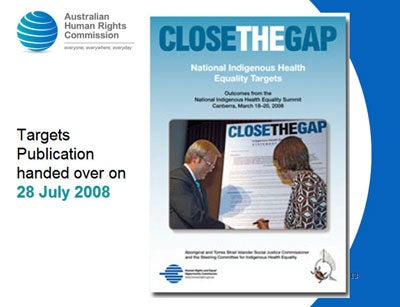 Close the Gap - cover image. Targets Publication handed over on 28 July 2008