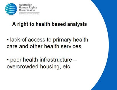 A right to health based analysis  lack of access to primary health care and other health services    poor health infrastructure – overcrowded housing, etc