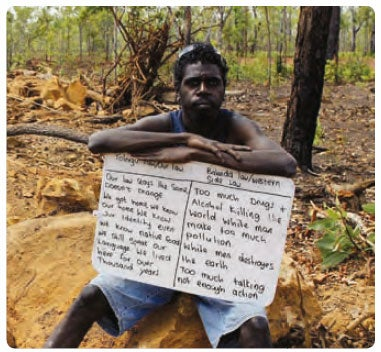 Aboriginal man protesting the NT Interventionb. (c) Belinda Mason