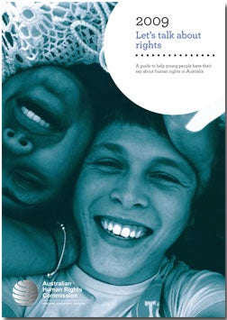 A guide to help young people have their say about human rights in Australia (2009) cover of a teenage boy and an Aboriginal teenage girl. Photo (c) Luke Urquhart