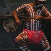Indigenous man dancing