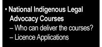 National Indigenous Legal Advocacy Courses - Who can deliver the courses?