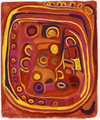 NGUPAWARLU (2003) (c) Nyuju Stumpy Brown Ngupawarlu depicts tali (sandhill) country. Reprinted from Telstra National Aboriginal and Torres Strait Islander Art Award 2003 catalogue with permission from the Museum and Art Gallery of the Northern Territory and Mangkaja Arts Resource Agency Aboriginal Corporation. Courtesy of the artist and GRANTPIRRIE Collection.