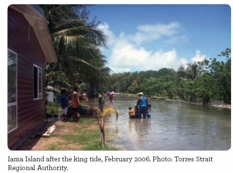 Iama Island after the king tide, February 2006. Photo: Torres Strait Regional Authority