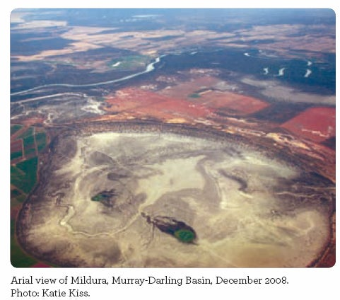 Arial view of Mildura, Murray-Darling Basin, December 2008. Photo: Katie Kiss.