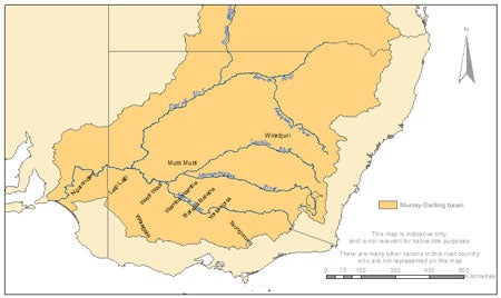 A map of Murray Lower Darling Rivers Indigenous Nations