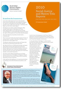 2010 Social Justice and Native Title Reports