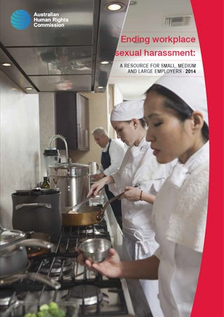 Cover - Ending workplace sexual harassment: A resource for small, medium and large employers