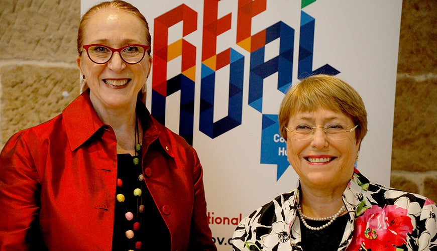 Professor Rosalind Croucher AM at the Free and Equal conference pictured with United Nations High Commissioner for Human Rights Michelle Bachelet