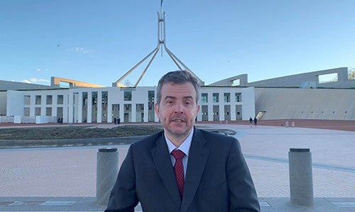 Disability Discrimination Commissioner Ben Gauntlett out the front of Parliament House