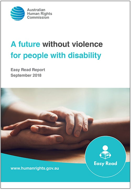 A future without Violence for people with disability. Report cover, featuring a hand holding a hand