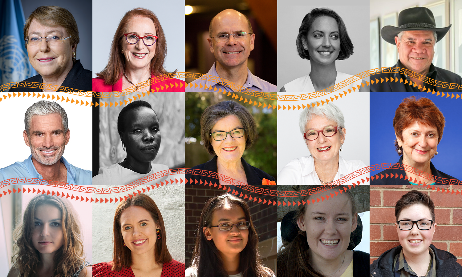 Grid of headshots of speakers for Free and Equal Conference
