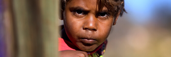 Aboriginal boy with intense stare