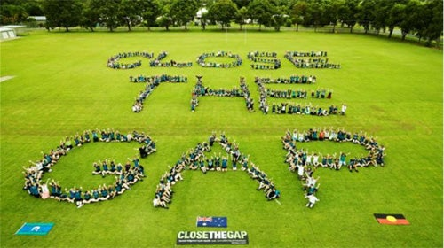 Aerial shot of people forming the words 'Close the Gap' in a field