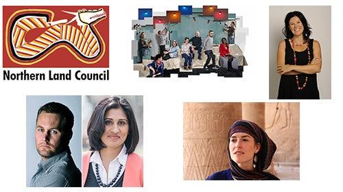 logos of Northern Land Council, Changing Minds TV series. Photos of Kirsti Melville, Ben Doherty and Sarah Malik, Jess Hill