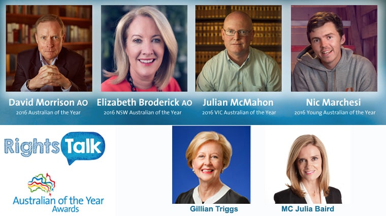 RightsTalk 1 June 2016 Australians of the Year and Gillian Triggs