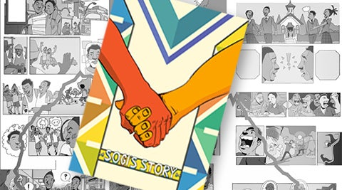 Sogi Story - comic cover of two males holding hands over a background of comic panels