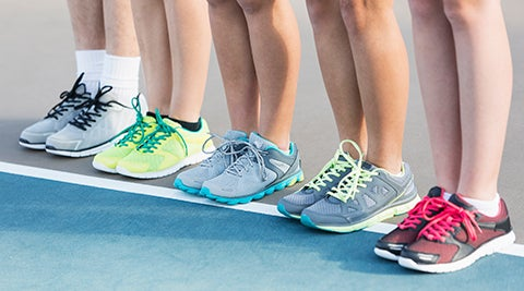 Different coloured tennis shoes