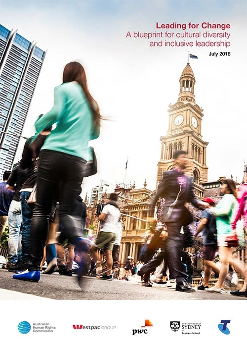 Cover of Leading for Change Report (2016) - multi-cultural people walking around CBD area