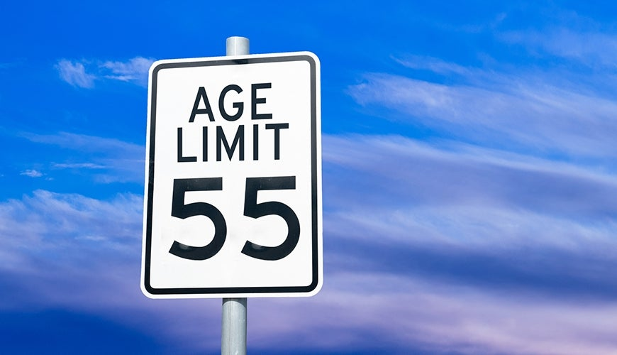 "Traffic sign with ""Age Limit 55"""