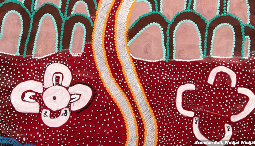 Traditional Aboriginal painting, small figures in wheelchairs seen among the dots and lines. Tracks in the Sand - Artwork by Brendan Ball