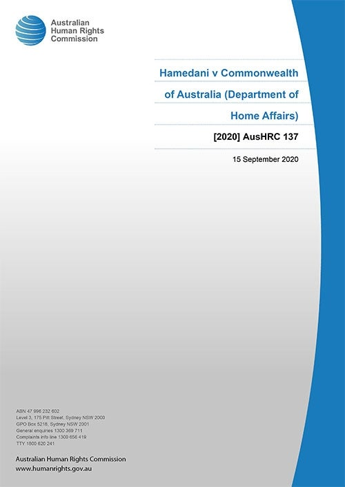 Cover of Report 2020 AusHRC 137
