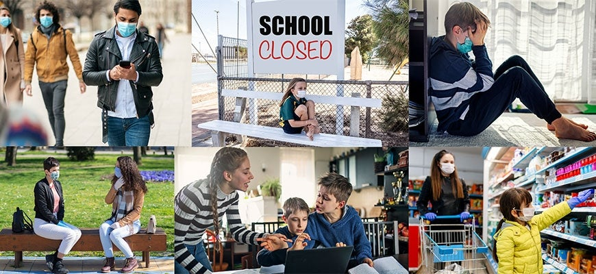 "Collage of children of all ages wearing masks, walking, shopping, crying. A sign ""school closed"""