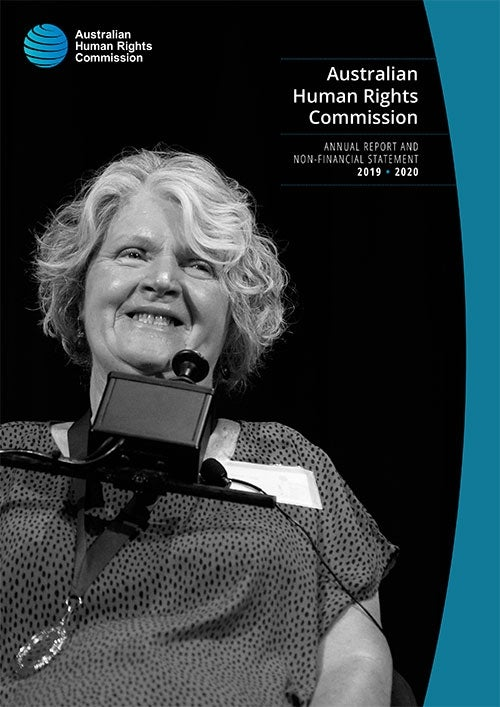 Rosemary Kayess on cover of annual report 2019-2020