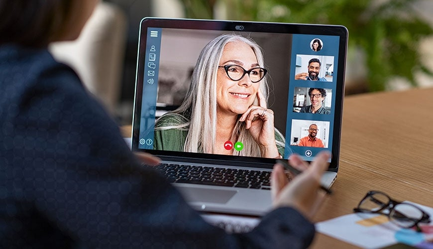 Online training with older woman presenter