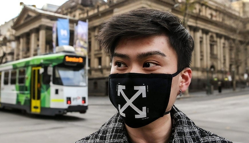 Melbourne man with facemask