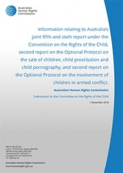 Cover of Report to the UN Committee on the Rights of the Child (2018)