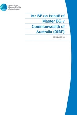 Mr BF on behalf of Master BG v Commonwealth of Australia (DIBP)