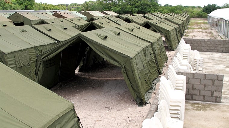 Rows of tents for asylum seekers on Manus Island. Source: Department of Immigration and Border Protection, reproduced under a CC BY 2.0 license.
