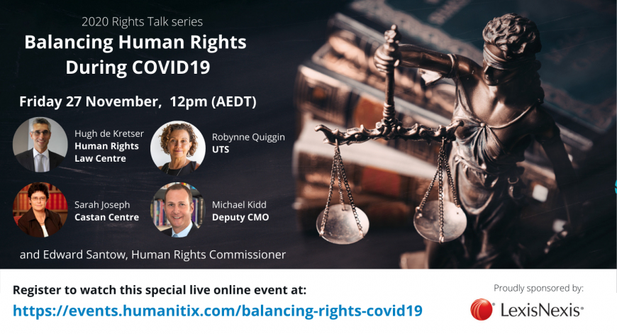 Balancing Human Rights During COVID-19. Speaker images and names.