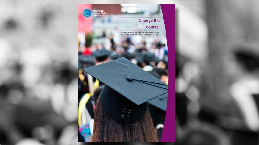 Woman graduating from uni, cover of Change The Course: National Report on Sexual Assault and Sexual Harassment at Australian Universities (2017)