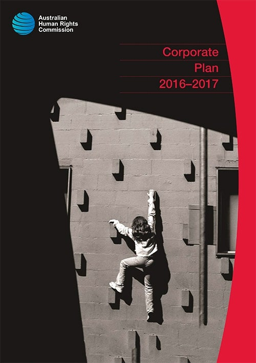 cover of 2016-2017 Corporate Plan - person climbing a wall