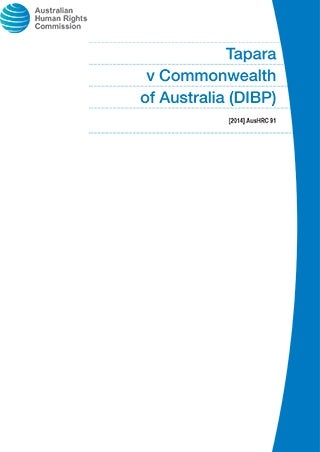 Cover - Tapara v Commonwealth of Australia (DIBP)