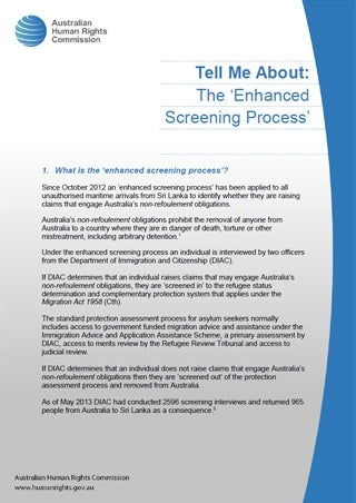Cover - Tell Me About: The 'Enhanced Screening Proces'