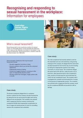 Cover - Recognising and responding to sexual harassment in the workplace: Information for employees