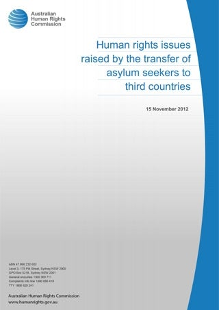 Human rights issues raised by the transfer of asylum seekers