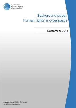 Cover - Background paper: Human rights in cyberspace