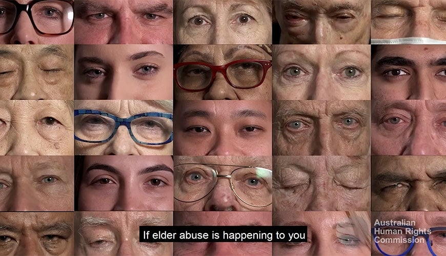 Eyes of older people opening and watching