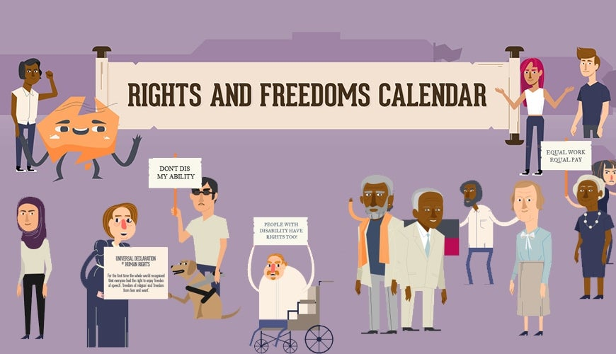 Rights and Freedoms calendar and animated characters