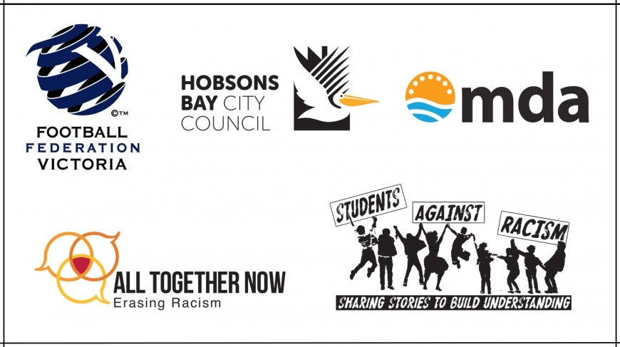 Logos of the 5 RISWM award finalists: Football Federation Victoria, Multicultural Development Agency, All together Now,  Hobsons Bay City Council and Tasmanian Students Against Racism